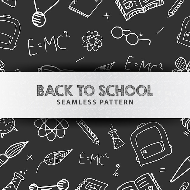 Back to school illustration seamless pattern