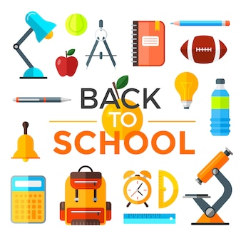 Back to school illustration set. education object in flat style.