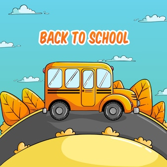 Back to school illustration with bus school and colorful autumn