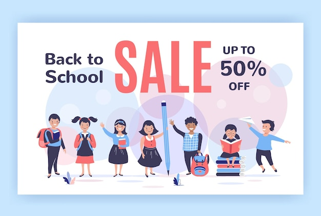 Back to school illustration with cute cartoon kids.  hand drawn vector illustration
