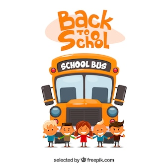 Back to school illustration with a school bus