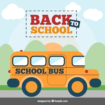 Back to school illustration with school bus