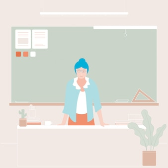 Back to school illustration of woman teacher