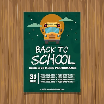 Back to school indie live music poster Premium Vector