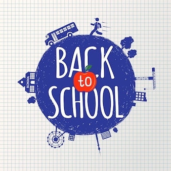 Back to school inscription on the background of notebook sheet in a cage and hand-drawn icons