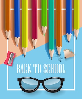 Back to school inscription in frame, glasses and pencils