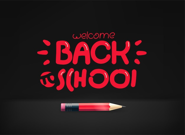 Back to school inscription. illustration with pencil