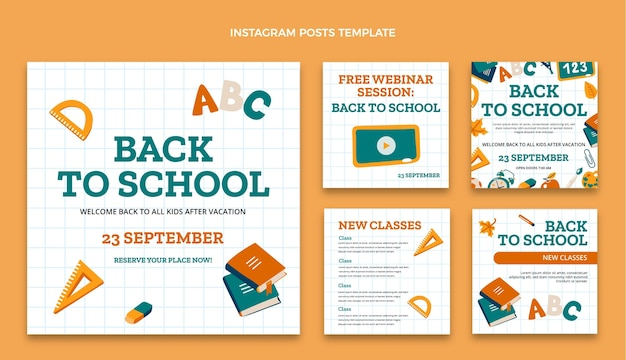Back to school instagram posts collection