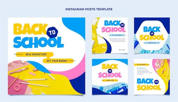 Back to school instagram posts collection Premium Vector