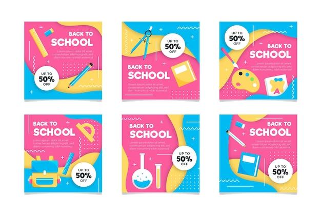 Back to school instagram posts flat design