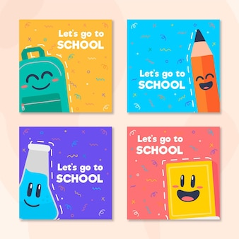 Back to school instagram posts in flat design
