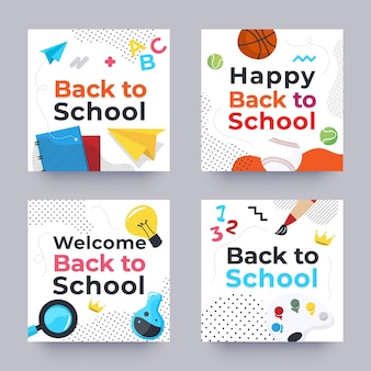 Back to school instagram posts set
