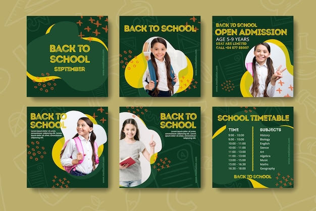Back to school instagram posts template