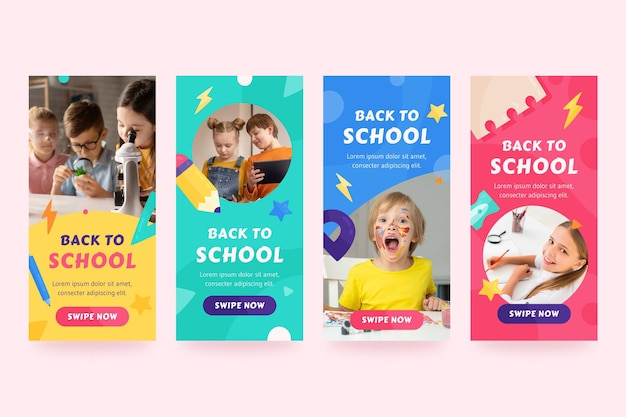 Back to school instagram stories collection with photo