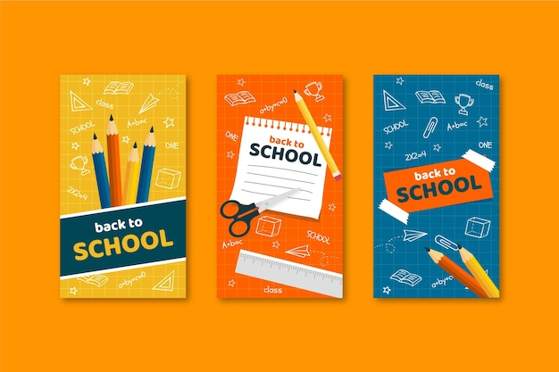 Back to school instagram stories in flat design
