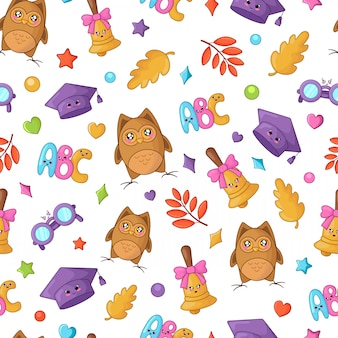 Back to school kawaii accesories pattern