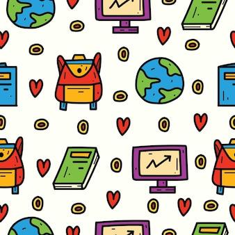 Back to school kawaii cartoon doodle pattern design