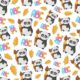 Back to school kawaii seamless pattern