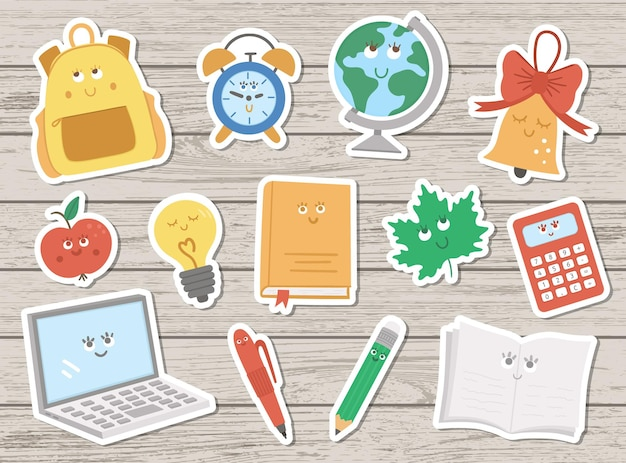 Back to school kawaii vector sticker pack on wooden background. educational clipart set with cute flat style smiling objects.  funny schoolbag, pencil, alarm, bell, apple illustration for kids.