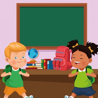 Back to school kids cartoon
