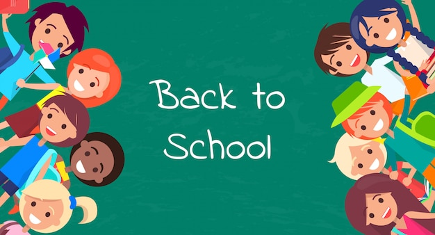 Back to school kids isolated vector illustration with inscription on green background