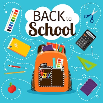 Back to school. kids school backpack with education equipment vector illustration