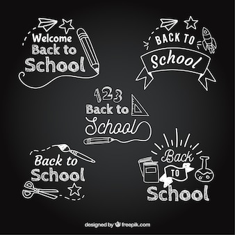 Back to school label collection in blackboard style