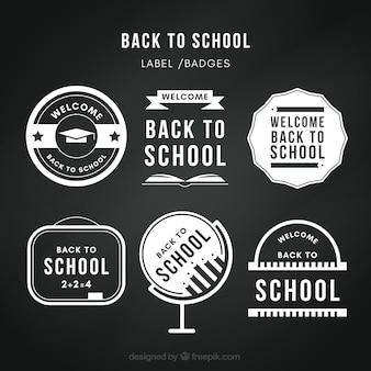 Torna alle etichette della scuola in stile lavagna
