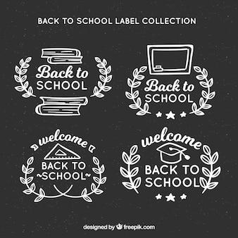 Torna a scuola etichette sulla lavagna