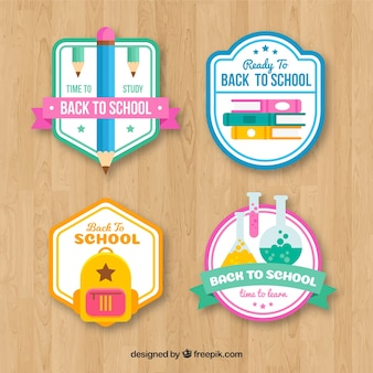 Back to school labels collection with elements