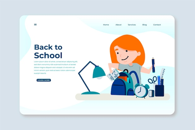 Back to school landing page concept