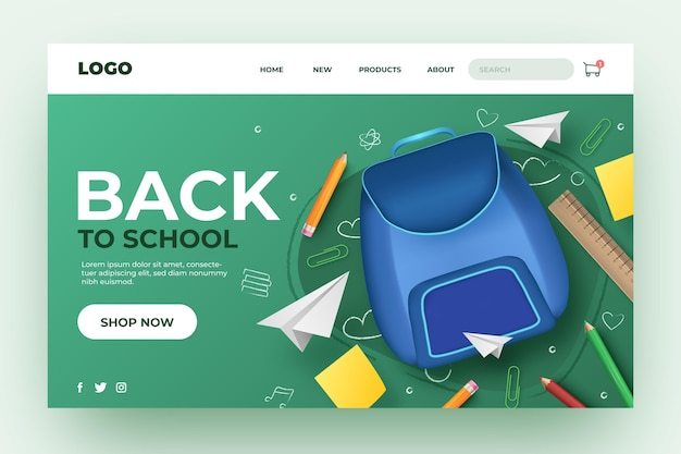 Back to school landing page design