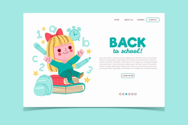 Back to school landing page template girlboy