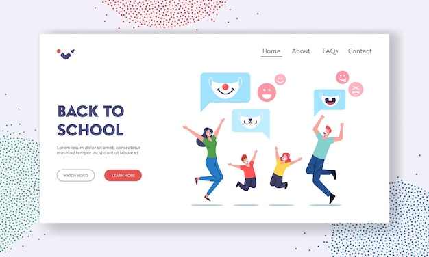 Back to school landing page template. happy family characters adult parents and children wearing funny kids masks with animal muzzles for protection of coronavirus. cartoon people vector illustration