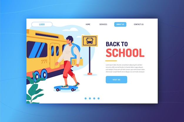 Back to school landing page template with boy
