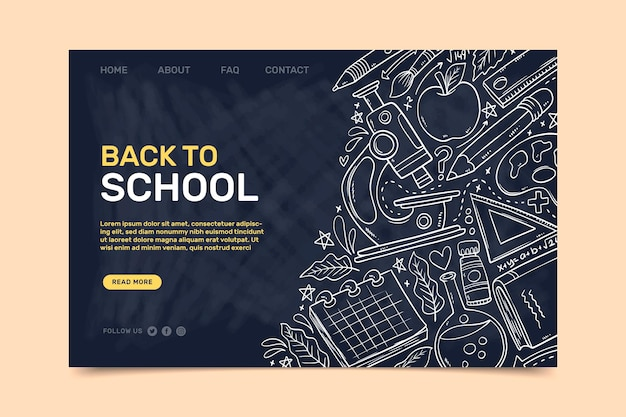 Back to school landing page template with white sketches
