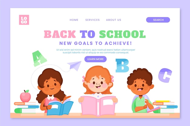 Back to school landing page template