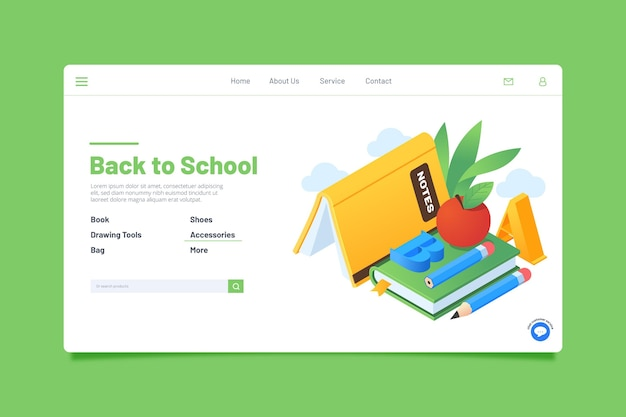Back to school landing page theme