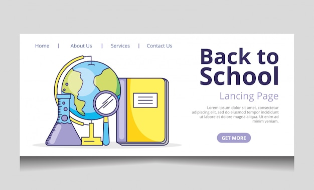 Back to school landing page vector