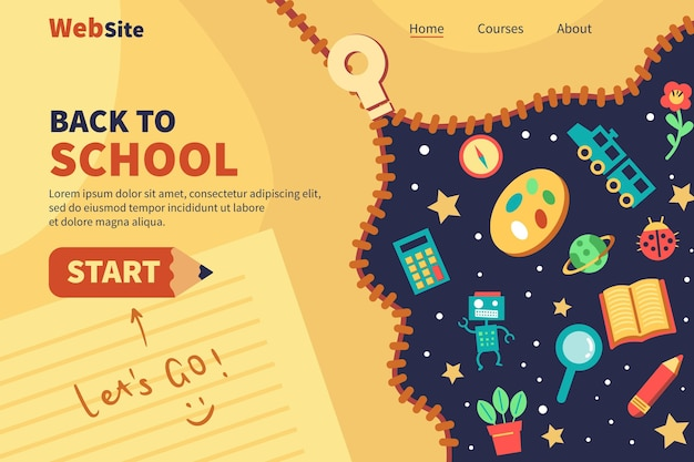 Back to school landing page web template