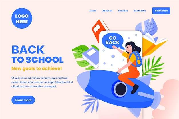 Back to school landing page webtemplate