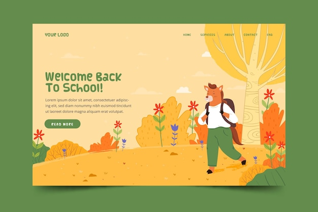 Back to school landing page with animal