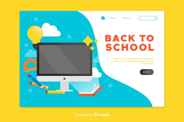 Back to school landing page with blue background