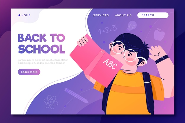 Back to school landing page with boy illustrated