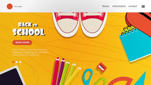Back to school landing page with colorful elements