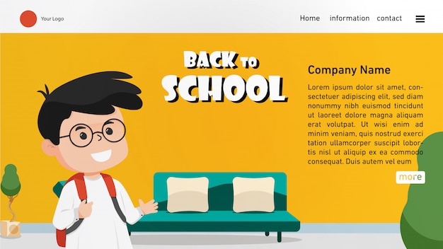Back to school landing page with cute boy