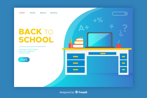 Back to school landing page with desk and laptop