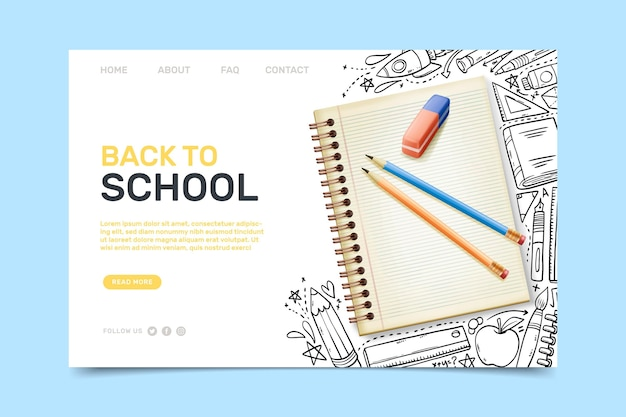 Back to school landing page with illustrations Free Vector