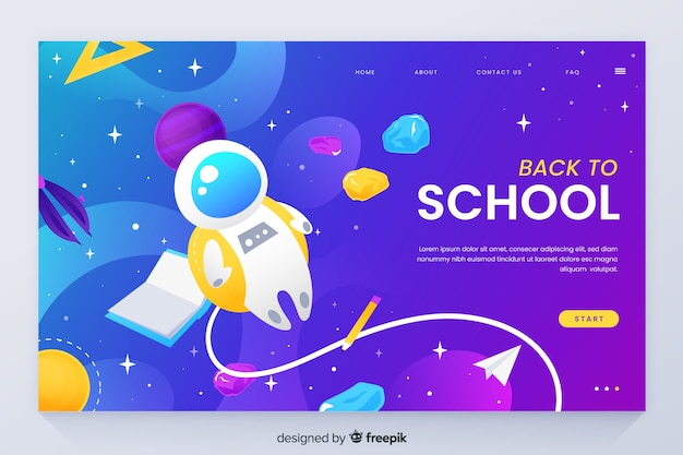 Back to school landing page with space theme