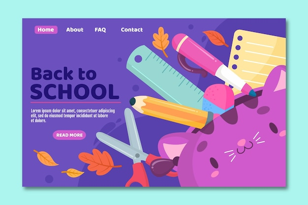 Back to school landing page with supplies